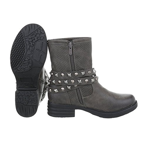 bottines Bikerbottes Western Bloc Ital et Chaussures Design Bottes Gris femme YRqw6vxnBt