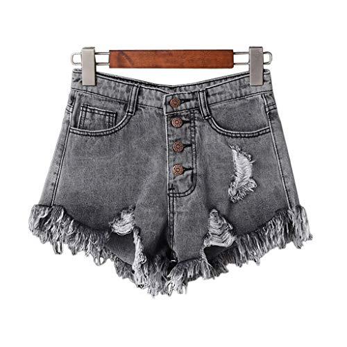 Ruiruinie jeans a vita alta da donna sexy a vita alta con jeans strappati pantaloni corti di grandi dimensioni in denim - grigio-s