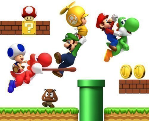 Super Mario Bros Jungen Kinderzimmer Wand Sticker Aufkleber (Dekorationen Bros Super Mario)