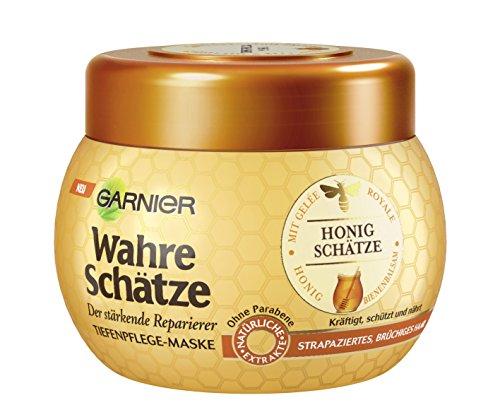 Garnier Wahre Schätze Tiefenpflege-Maske, Honig Schätze, kräftigt, schützt und nährt strapaziertes und brüchiges Haar, 300 ml