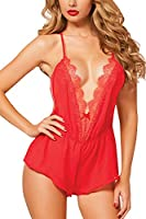 Sexy Lingerie Women Girls Sexy Lingerie Teddy Deep V Halter Lace Backless Bodysuit Fun Lingerie Pajamas Sexy Wild Temptation Ladies Three Point Harness Perspective Underwear Sets Red