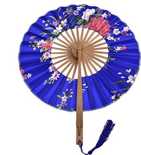 XIAOHAIZI Handfächer,1 Stück Blaue Blume Muster Faltfächer Bambus Stoff Fan Party Geschenk Hochzeitsgeschenk Dame Faltfächer Wanddekoration Tanzfächer -