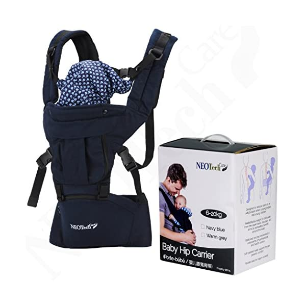 Baby Carrier Hip Seat 100% Cotton - Pocket & Removable Hoodie/Head Support - Adjustable & Breathable - Neotech Care Brand - for Infant, Child, Toddler - Grey Neotech Care 4 WAYS TO CARRY BABY! 1) only hip seat facing you! 2) only hip seat facing outside world 3) hip seat + baby wrapper facing you 4) hip seat + baby wrapper facing outside world! REMOVABLE HEAD SUPPORT! 100% COTTON outer fabric - Comfortable & Breathable! 3