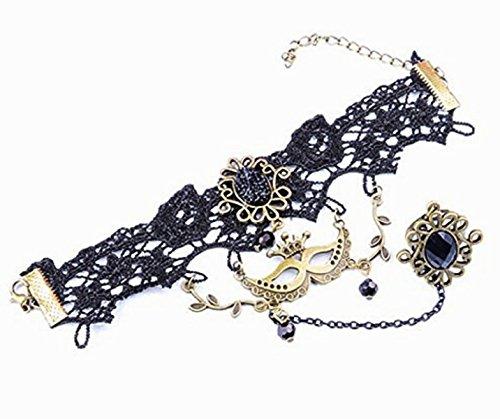 hmuck-Set aus Spitze Makramee mit Anhänger Venezianische Maske Viktorianischer Stil Schwarz (Maschere Halloween)
