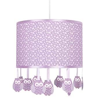 MiniSun Suspension avec chouettes Violet à fleurs blanches