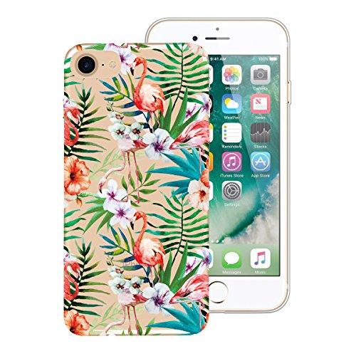 Custodia iPhone 7 Plus, Dexnor 3x Cover Apple iPhone 7 Plus Custodia Silicone Trasparente Oro Rosa Rosso Fiore Fenicottero Modello Morbido Gel Gomma TPU Bumper Slim Case Sottile Antiurto Copertura Pro Fenicottero Fiore