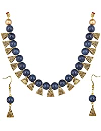 Catalyst Gold Plated Oxidized Polish Metal Blue Coloured Pearl Jewellery Set For Women/Girls