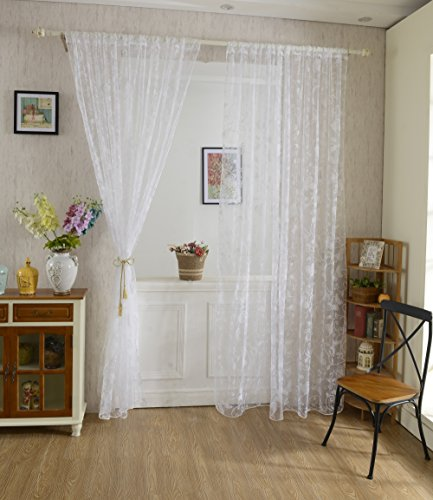 Generic Flocking Butterfly Sheer Curtain Panel Window Tulle Divider White 100*200cm
