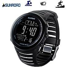 SUNROAD FR720 Men Sports Fishing Watch - Digital Waterproof Stopwatch/Altimeter/Barometer/Thermometer LCD Display (Black)