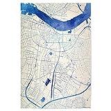 artboxONE Poster 120x80 cm Städte Aalborg Da?nemark Blue