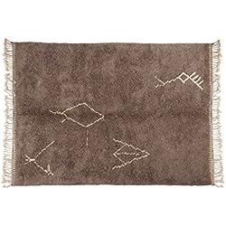 Sukhi Malika: Gris alfombras bereberes Marroquíes, Símbolos Tribales, Hechos a Mano en Marruecos, Lana de Pelo Alto, Beni Ouarain (80cm x 100cm/2' 7.5'' x 3' 3.4'')