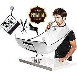 BELINIA PRESTIGE - bavoir à barbe - cape barbier - tablier de barbe avec pochette intégrée + 2 rasoirs Hygiénique OFFERT