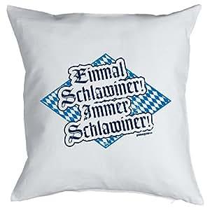Weiß-blaues Kissen mit Füllung - Einmal Schlawiner Immer Schlawiner! - Ein perfektes Geschenk auf bayerisch!