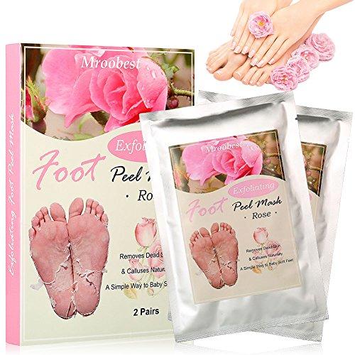 Fußmaske, Peeling Socken, Foot Mask, Exfoliating Socks, Rose Fuss Maske, Entfernt natürlich abgestorbene Haut und Schwielen für die Füße glatt und zart wie Samt für Männer Frauen - 2 Paar (Baby Füße Fuß Peeling)