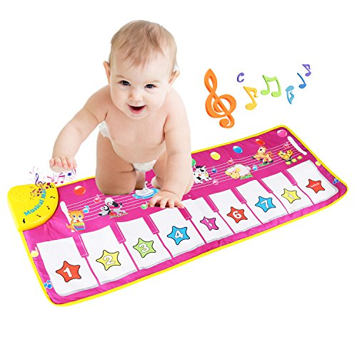 Children�s Musical Toys, BELLESTYLE Baby Musical Game Carpet Mat Musical Instrument Toy Touch Play Keyboard Gym Play Mat for Kids.