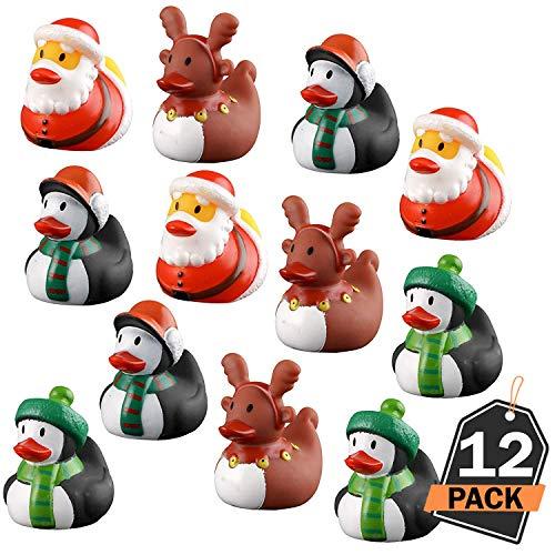 Kompanion 12 Stück sortierte Weihnachtsenten Set für Kinder, Weihnachten Spielzeug, für Weihnachtsstrumpf und Wundertüte