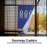 Türvorhang im Japanische Stil, Tür Fenster Vorhänge mit Fisch-Muster Küchengardine für Tür Fenster Wohnzimmer Küche