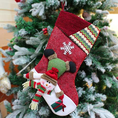 Likecrazy Weihnachten Dekoration Anhänger Weihnachtsweihnachtsbaum hängender Party Weihnachten Puppe Dekor Santa Strumpf Socken Geschenk Süßigkeitstaschen(F,27x45 cm/10.6x17.7)