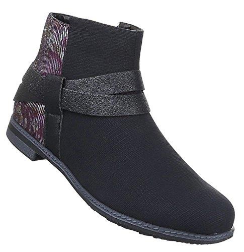 Damen Stiefeletten Schuhe Moderne Boots Schwarz 36 37 38 39 40 41 Schwarz