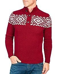 Wool Overs Pull nordique homme à col boutonné