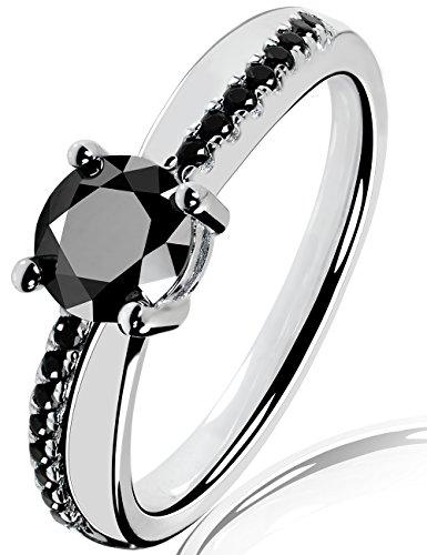 Lars Benz LUXUS Damen-Ring Verlobungsring Swarovski Zirkonia 1,4 Karat 6mm schwarz Sterling-Silber 925 Zertifikat Solitärring Antragsring Vorsteckring Silberring klassisch ORIGINAL 54-mm