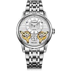STARKING Men's AM0222SS11 Silver-Tone Double Tourbillon Skeleton Luminous Automatic Watch