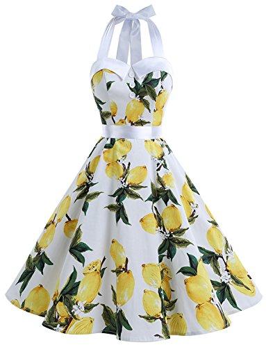 ntage Tupfen Retro Cocktail Abschlussball Kleider 50er 60er Rockabilly Neckholder Zitrone XL (Zitrone 50er Jahre Kleid)