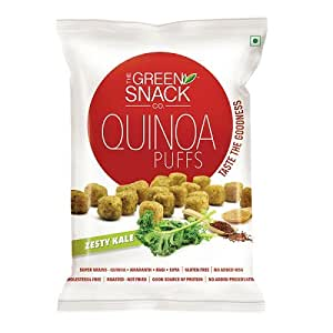The Green Snack Co Quinoa Puffs, Zesty Kale, 50g