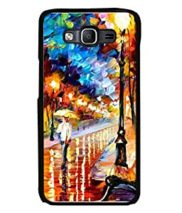 PrintVisa Designer Back Case Cover for Samsung Galaxy J5 (2015) :: Samsung Galaxy J5 Duos (2015 Model) :: Samsung Galaxy J5 J500F :: Samsung Galaxy J5 J500Fn J500G J500Y J500M (Graphic Paint Blue Drawing Modern Art Road Walk)