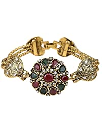Wearyourfashion Antique Gold Plated Resins and Crystal Turkish Bracelet for Women/Girls