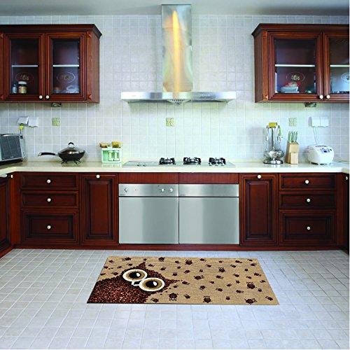 Alfombra de cocina, lavable en lavadora, alfombra cocina,52cm x 150cm, antiácaros, antideslizante, alfombra de cocina diseño búho,100% made in Italy,alfombra de cocina diseño de impresión digital