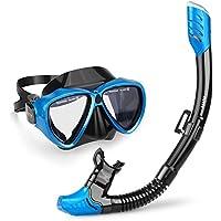 INTEY Snorkel Set Gafas de Buceo y Tubo Unisex de Lentes Vidrio Templado, Anti-Niebla con Válvula de Purga, Color Azul