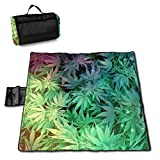MZZhuBao Weed Plant Leaves Portable Large Picnic Blanket 57'' x59 Outdoor Waterproof Sand-Proof Beach Blanket Mat with Tote Bag for Hiking Festival Park Party Lawn