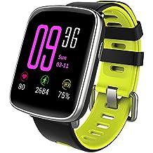 YAMAY Smartwatch Touch Android iOS Smart Watch Cardiofrequenzimetro da Polso Impermeabile IP68 Orologio Fitness Tracker Uomo Donna Bambini Contapassi Calorie Cronometro per iPhone Samsung Xiaomi