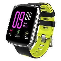 Idea Regalo - YAMAY Smartwatch Fitness Tracker Android iOS Impermeabile IP68 Uomo Donna Bambini Smart Watch Orologio Cardiofrequenzimetro da Polso Braccialetto Sport Contapassi Cronometro per iPhone Samsung Huawei