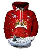 EOWJEED Unisex Lässige 3D Gedruckt Sweatshirt Pullover Weihnachten Hoodie Medium