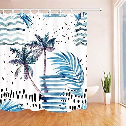 HHYSPA Tropische Baum Bad Vorhang Aquarell Palm Tree Leaves für Urlaub Polyester Stoff wasserdicht Duschvorhang für Badezimmer mit 12 Haken 71X71 Inch (Palm-baum-dusche Vorhang Ringe)