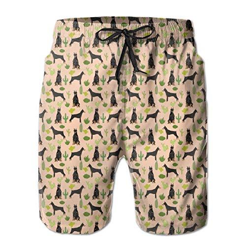 HJSHD Miniatur Doberman Pinscher Kaktusstrand Herren Lose Design Atmungsaktive Hose mit Taschen Nicht verblassen Trunk für Urlaub Gr. XXL, weiß -