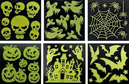 Halloween 6er-Sparset Grusel-Deko Sticker Spuck Festerdekoration: Leuchtet im ()