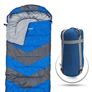 Abco Tech Sleeping Bag – Envelope Lightweight Portable, Waterproof, Comfort With Compression Sack, Great For 4 Season Traveling, Camping, Hiking, Outdoor Activities. (SINGLE) (Blue)