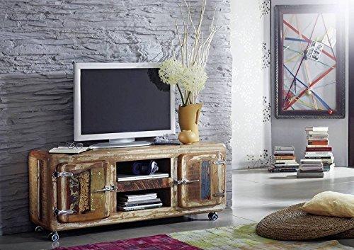 Bois Fer Vieux chêne Meuble massif Conseil TV Style industriel Bois massif meuble verni Freezy #10
