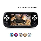 """Rongyuxuan Handheld Game Console, Portable Video Game 4.3"""" TFT Screen 4GB PAP Classic Handheld Game Console 64 Bit Portable Game Console with 653 Games,Birthday Gift for Children (Black)"""