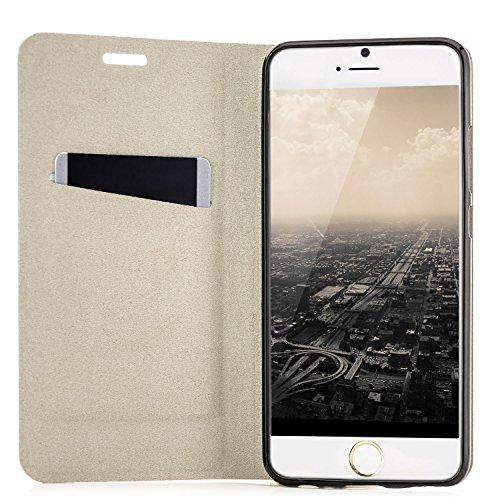 """zanasta Designs Tasche Apple iPhone 6 / 6S (4,7"""") Hülle + 3D Panzerglas (Full Cover) Flip Case Slim Schutzhülle Handytasche mit Kartenfach, Standfunktion Grau [Glas mit weißem Kunststoffrand] Schwarz"""
