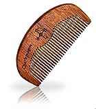 Charlemagne Bart-Kamm 100% Echtholz! - Holz-Kamm antistatisch - Pflegt Haare und Bart - Barbier Qualität - Perfektes Geschenk für bärtige Herren - Ideal für die Bartpflege Unterwegs - Grobe Zahnung