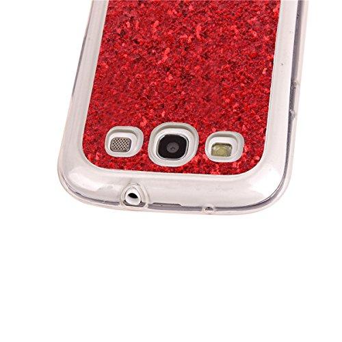 Coque Galaxy S3 I9300, Étui pour Samsung Galaxy S3, ISAKEN Étui Housse Téléphone Étui TPU Silicone Ultra Mince Gel Arrière Case Antichoc Doux Durable Résistant Aux Rayures Bling Glitter Absorption Hou rouge B