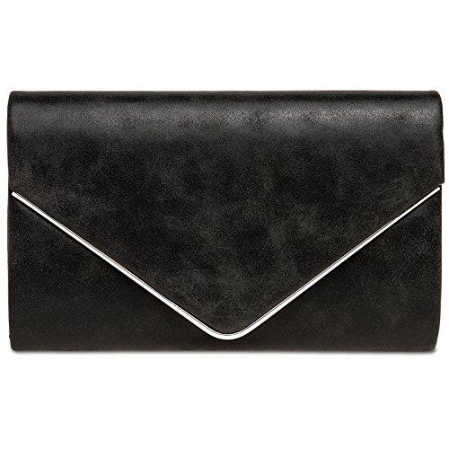 Kunst Handtasche (CASPAR TA349 Damen elegante Envelope Clutch Tasche Abendtasche mit langer Kette, Farbe:schwarz, Größe:One Size)
