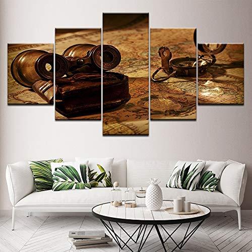aicedu Imagenes Enmarcadas Vintage World Map Wall Art Decoración para El Hogar Navegación Lienzo Pintura Latón Antiguo Vela Brújula Foto Aventura Océano Mapa Poste-Marco