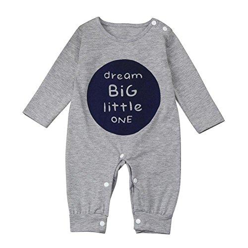 AUSVERKAUF. Baby Winter Kleidung Outfits für 3–18Monate mingfa Unisex Neugeborene Infant Boy Girl Long Sleeve Buchstabe Strampler Jumpsuit, 6M, grau, 1
