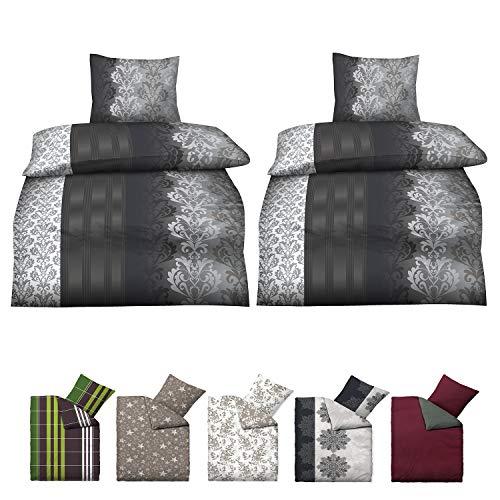 Niceprice Baumwolle Biber Bettwäsche in vielen modernen Designs und 4 Größen, 4 teilig Tim 2X 135x200 cm, 2X 80x80 cm