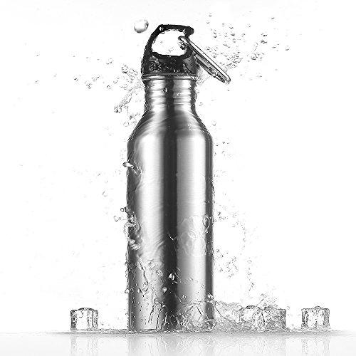 Ecooe Edelstahl Sport Trinkflasche 780ml Wasserflasche Sportflasche mit Aluminiumkarabiner für Das Laufen, Fitness, Yoga, Im Freien und Camping